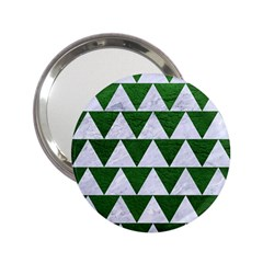 Triangle2 White Marble & Green Leather 2 25  Handbag Mirrors by trendistuff