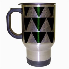 Triangle2 White Marble & Green Leather Travel Mug (silver Gray) by trendistuff