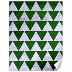 Triangle2 White Marble & Green Leather Canvas 18  X 24   by trendistuff