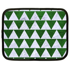 Triangle2 White Marble & Green Leather Netbook Case (large) by trendistuff
