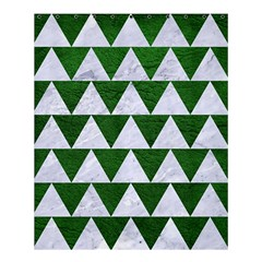 Triangle2 White Marble & Green Leather Shower Curtain 60  X 72  (medium)  by trendistuff