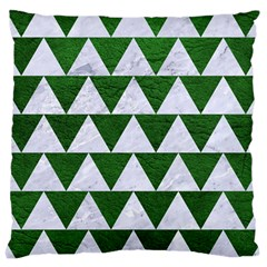 Triangle2 White Marble & Green Leather Large Cushion Case (two Sides) by trendistuff