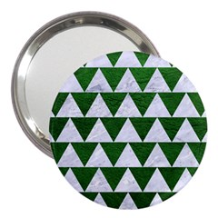 Triangle2 White Marble & Green Leather 3  Handbag Mirrors by trendistuff