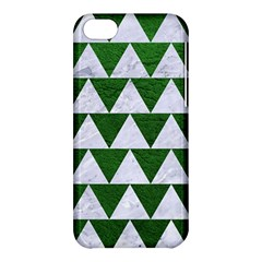 Triangle2 White Marble & Green Leather Apple Iphone 5c Hardshell Case by trendistuff