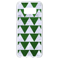 Triangle2 White Marble & Green Leather Samsung Galaxy S8 White Seamless Case