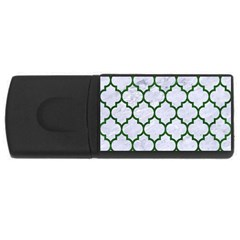 Tile1 (r) White Marble & Green Leather Rectangular Usb Flash Drive