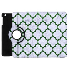 Tile1 (r) White Marble & Green Leather Apple Ipad Mini Flip 360 Case by trendistuff