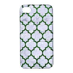 Tile1 (r) White Marble & Green Leather Apple Iphone 4/4s Hardshell Case With Stand by trendistuff