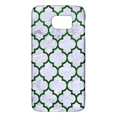 Tile1 (r) White Marble & Green Leather Samsung Galaxy S6 Hardshell Case  by trendistuff