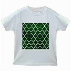 Tile1 White Marble & Green Leather Kids White T Shirts by trendistuff