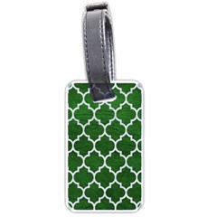Tile1 White Marble & Green Leather Luggage Tags (one Side)