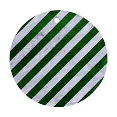 Stripes3 White Marble & Green Leather (r) Round Ornament (two Sides)