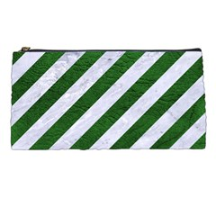 Stripes3 White Marble & Green Leather (r) Pencil Cases by trendistuff