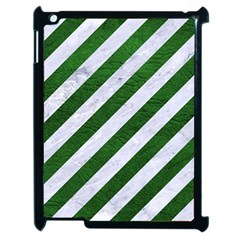 Stripes3 White Marble & Green Leather (r) Apple Ipad 2 Case (black) by trendistuff