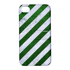 Stripes3 White Marble & Green Leather (r) Apple Iphone 4/4s Hardshell Case With Stand by trendistuff