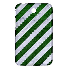 Stripes3 White Marble & Green Leather (r) Samsung Galaxy Tab 3 (7 ) P3200 Hardshell Case  by trendistuff