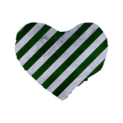 Stripes3 White Marble & Green Leather (r) Standard 16  Premium Flano Heart Shape Cushions by trendistuff