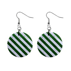 Stripes3 White Marble & Green Leather Mini Button Earrings