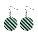 STRIPES3 WHITE MARBLE & GREEN LEATHER Mini Button Earrings Front