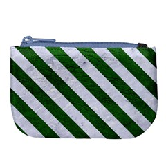 Stripes3 White Marble & Green Leather Large Coin Purse