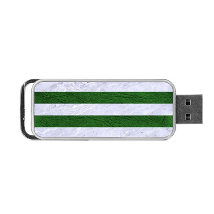 STRIPES2 WHITE MARBLE & GREEN LEATHER Portable USB Flash (One Side)