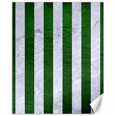 Stripes1 White Marble & Green Leather Canvas 16  X 20   by trendistuff