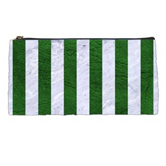 Stripes1 White Marble & Green Leather Pencil Cases by trendistuff