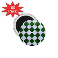 Square2 White Marble & Green Leather 1 75  Magnets (100 Pack)  by trendistuff