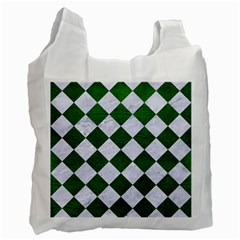 Square2 White Marble & Green Leather Recycle Bag (two Side)  by trendistuff