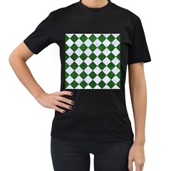 Square2 White Marble & Green Leather Women s T Shirt (black)
