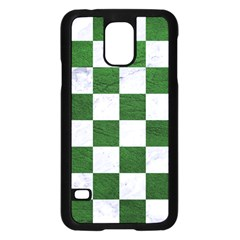 Square1 White Marble & Green Leather Samsung Galaxy S5 Case (black) by trendistuff