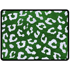 Skin5 White Marble & Green Leather (r) Fleece Blanket (large)  by trendistuff
