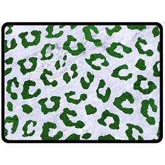 Skin5 White Marble & Green Leather Double Sided Fleece Blanket (large)  by trendistuff