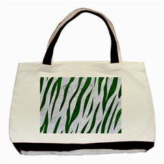 Skin3 White Marble & Green Leather (r) Basic Tote Bag (two Sides)