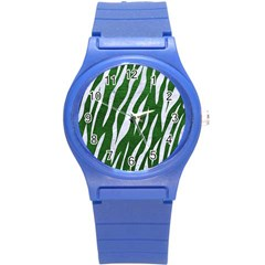 Skin3 White Marble & Green Leather Round Plastic Sport Watch (s) by trendistuff