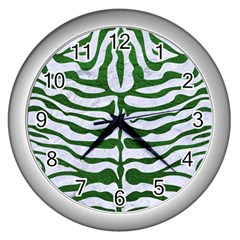 Skin2 White Marble & Green Leather (r) Wall Clock (silver) by trendistuff