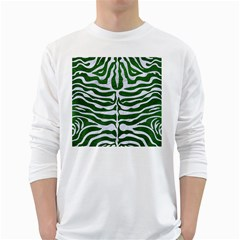 Skin2 White Marble & Green Leather Long Sleeve T Shirt