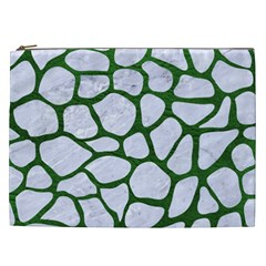 Skin1 White Marble & Green Leather Cosmetic Bag (xxl) by trendistuff