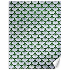 Scales3 White Marble & Green Leather (r) Canvas 18  X 24   by trendistuff