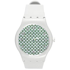 Scales3 White Marble & Green Leather (r) Round Plastic Sport Watch (m) by trendistuff