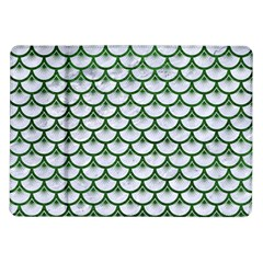 Scales3 White Marble & Green Leather (r) Samsung Galaxy Tab 10 1  P7500 Flip Case