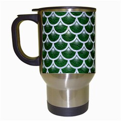 Scales3 White Marble & Green Leather Travel Mugs (white) by trendistuff