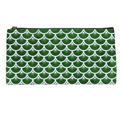 Scales3 White Marble & Green Leather Pencil Cases by trendistuff
