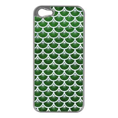Scales3 White Marble & Green Leather Apple Iphone 5 Case (silver) by trendistuff