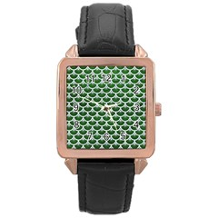 Scales3 White Marble & Green Leather Rose Gold Leather Watch  by trendistuff
