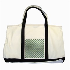 Scales2 White Marble & Green Leather (r) Two Tone Tote Bag