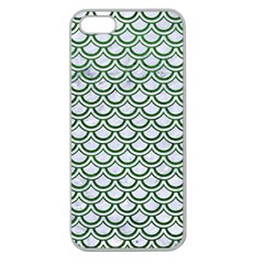 Scales2 White Marble & Green Leather (r) Apple Seamless Iphone 5 Case (clear) by trendistuff