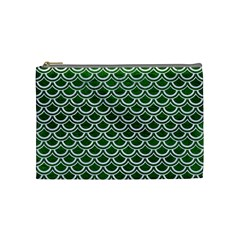 Scales2 White Marble & Green Leather Cosmetic Bag (medium) by trendistuff