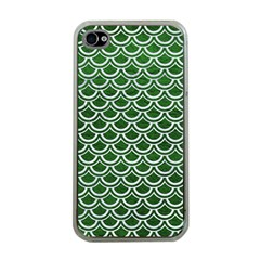 Scales2 White Marble & Green Leather Apple Iphone 4 Case (clear) by trendistuff