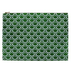 Scales2 White Marble & Green Leather Cosmetic Bag (xxl) by trendistuff
